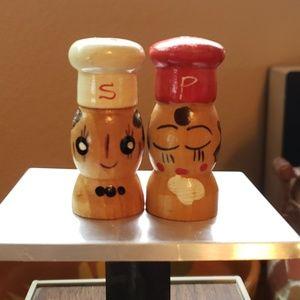 Vintage Wooden Chef Miniature Salt & Pepper